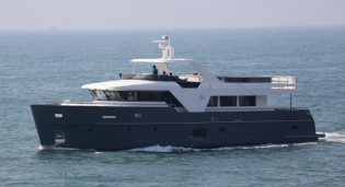 View large version of image: Monte Fino ecHo 85 superyacht completes sea trials