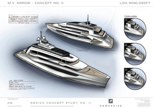 View large version of image: Newcruise designed 90-metre megayacht ARROW 90 concept