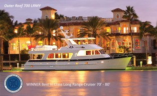 View large version of image: Outer Reef 700 pilothouse yacht receives Best in Class AIM Award