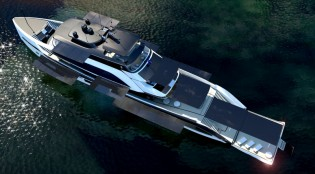 View large version of image: New 62m motor yacht concept by H2-Yachts - World's first energy autonomous Superyacht