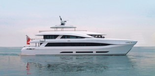 View large version of image: Recently launched 34m Curvelle power catamaran yacht QUARANTA