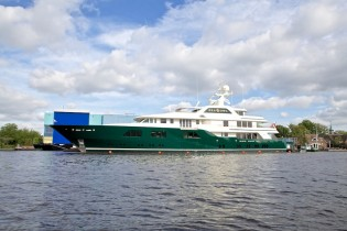 View large version of image: New 62m Feadship mega yacht SEA OWL leaves her shed to begin sea trials