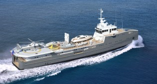 View large version of image: Launch of second Sea Axe 6711 Fast Yacht Support vessel by Damen