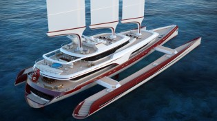 View large version of image: Pi Yachts and McPherson Yacht Design present 80m sailing trimaran DRAGONSHIP 80