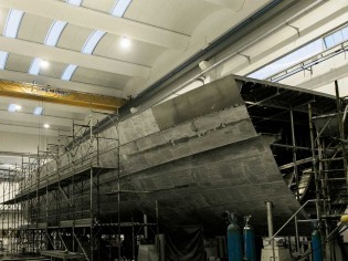 View large version of image: Construction of Wider 150' superyacht proceeding well at Wider Yachts