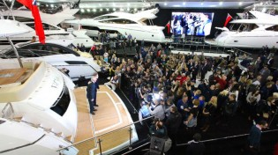 View large version of image: James Corden unveils new Sunseeker 75 Yacht at London Boat Show 2014