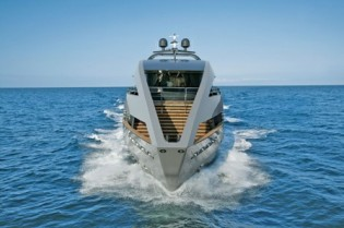 View large version of image: Striking luxury yacht OCEAN EMERALD and superyacht OCEAN SAPPHIRE available for MONACO GRAND PRIX yacht charter