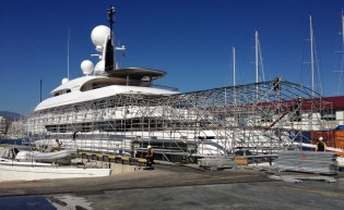 View large version of image: 74m Amels superyacht ILONA under refit at STP