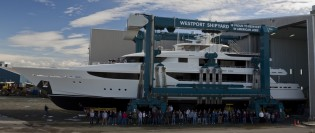 View large version of image: Launch of new Westport 164 superyacht Hull #12