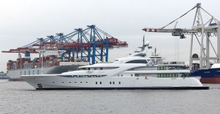 View large version of image: 82m Blohm + Voss superyacht GRACEFUL under sea trials