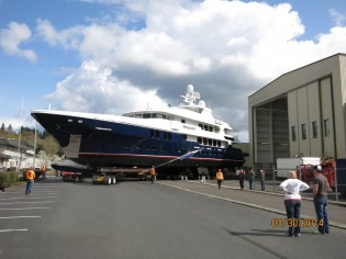 View large version of image: Launch of new 50m Christensen superyacht D'NATALIN
