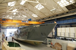 View large version of image: Hull section for first Princess 35M Yacht released from mould