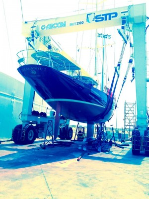 View large version of image: ATALANTE Yacht ready to hit the water after antifoul with Absolute Boat Care