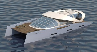 View large version of image: Power Catamaran AIR 99 under development at Oxygene Yachts