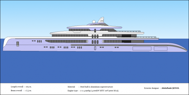 View large version of image: Mega Yacht Concept Design 105m.