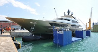 View large version of image: Sixth 46Steel superyacht TRIDENT launched by Sanlorenzo