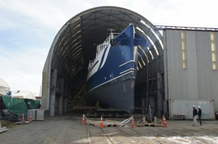 View large version of image: Oceania Marine's North Shipyard working on major upgrades of Damen Sea Axe Shadow Support Yacht UMBRA
