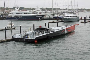 View large version of image: New 100ft carbon race superyacht COMANCHE launched by Hodgdon Yachts
