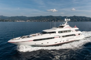 View large version of image: Delivery of 45m Sunrise superyacht ATOMIC