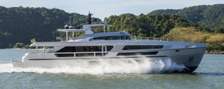 View large version of image: New MCP superyacht Limited Edition 106 undergoes sea trials