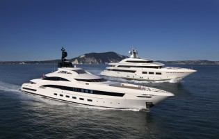View large version of image: Delivery of CRN superyacht SARAMOUR and mega yacht YALLA