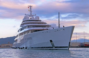 View large version of image: The World's Largest Superyacht AZZAM on Maiden Voyage