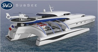 View large version of image: New 69m trimaran yacht Project SUBSEE under development at SVDesign