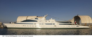 View large version of image: 141m mega yacht YAS undergoing sea trials