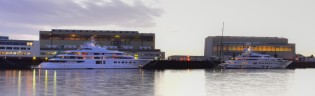 View large version of image: 115m mega yacht PELORUS and 104m super yacht QUANTUM BLUE at Lurssen