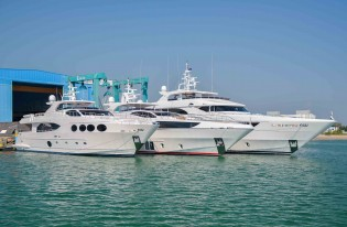 View large version of image: Three Majesty superyachts launched by Gulf Craft in one week