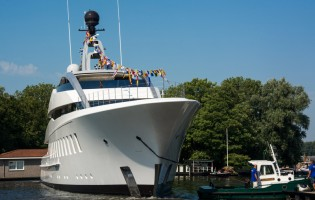 View large version of image: Launch of new 57m superyacht HALO at Feadship