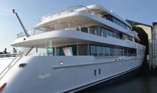 View large version of image: New 61m Motor Yacht Just J's hits the water at Hakvoort