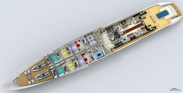 View large version of image: 120 m. Mega Yacht Concept Design Deck Plan